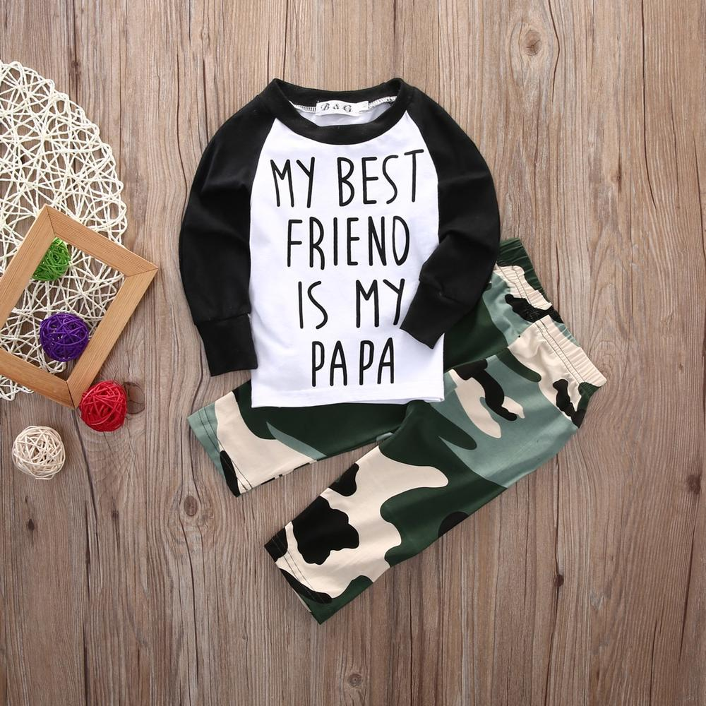 Baby Boy Camouflage Outfits Set My best friend is my papa