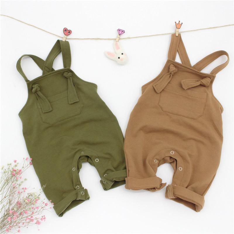 Cotton Overalls For Baby & Toddler - brown and green