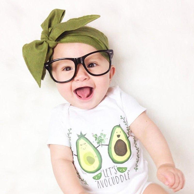 Cute Baby Onesie With Green Avocado