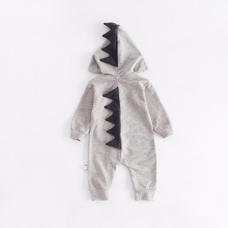 Cute Dinosaur Hooded Long-Sleeve Romper For Baby - grey