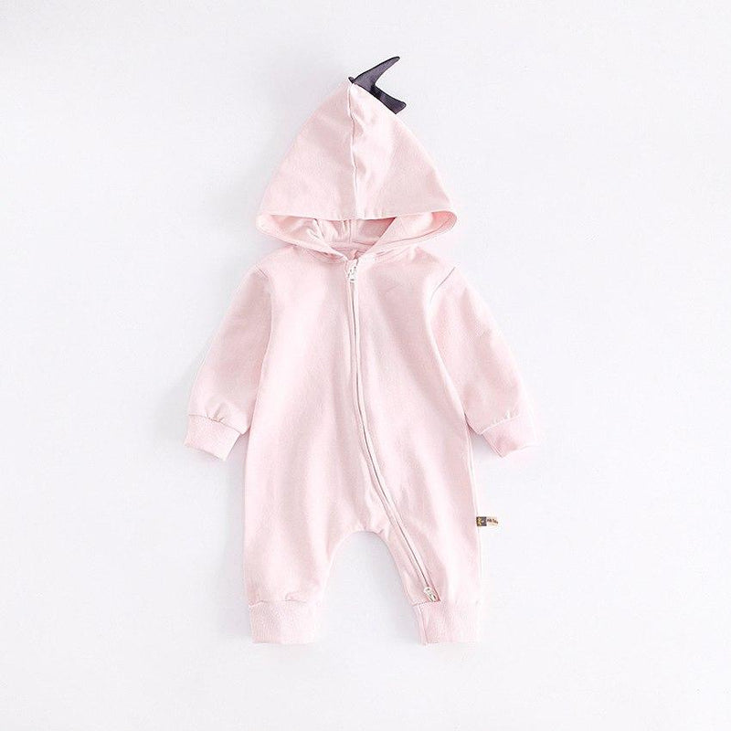Cute Dinosaur Hooded Long-Sleeve Romper For Baby - pink