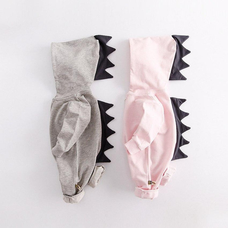Cute Dinosaur Hooded Long-Sleeve Romper For Baby - pink, grey