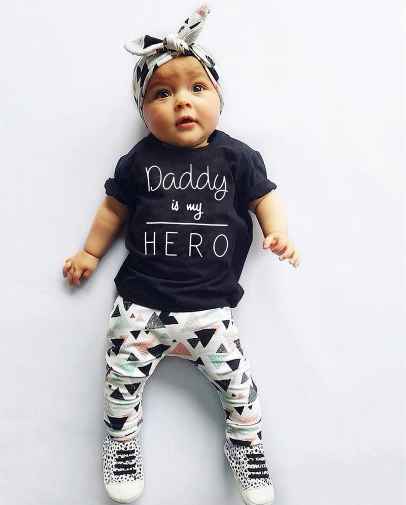 Daddy Is My Hero T-Shirt, Pants, Headband Baby Outfit