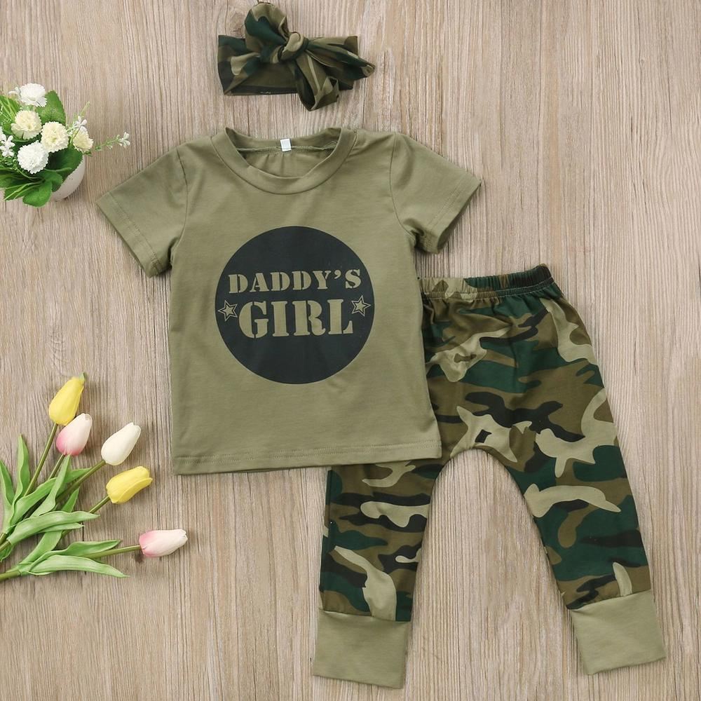 Daddy's Girl Baby Camo Outfit Set With T-Shirt, Pants & Headband