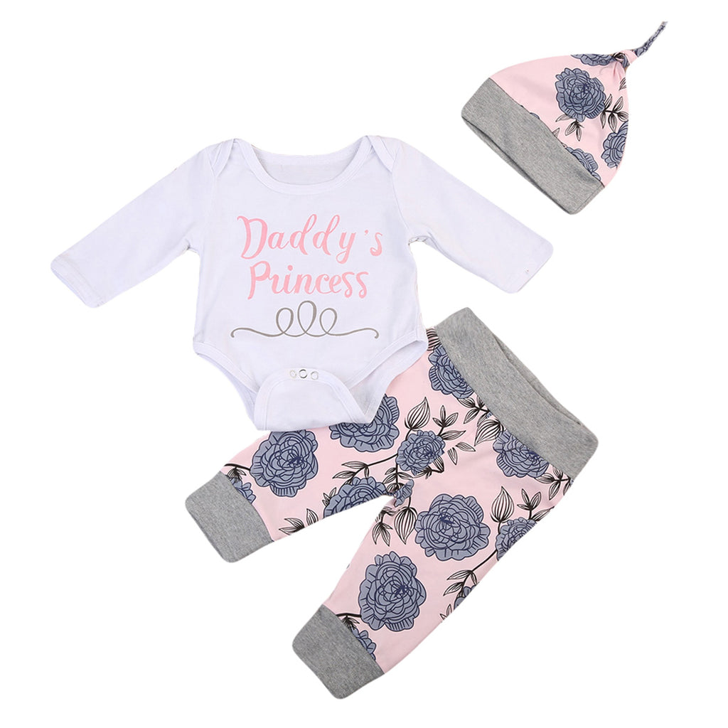 Daddy's Princess Baby Girl Outfit Set With Bodysuit, Pants And Hat