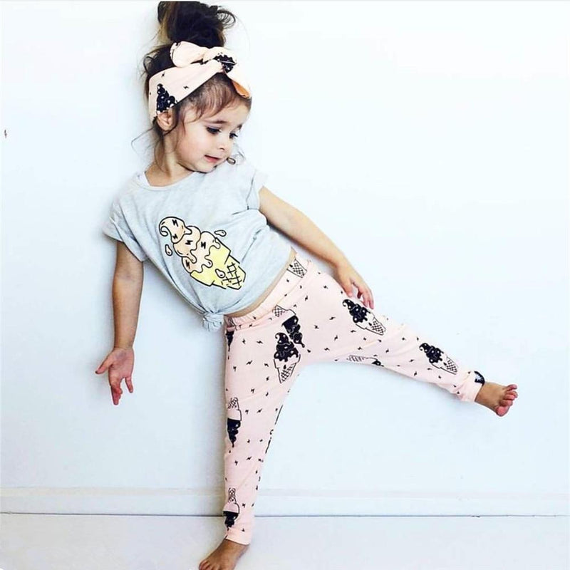 Girl 3-Pcs Ice Cream Outfit With T-Shirt Pants And Headband