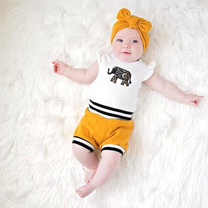 Girl's Cute Elephant Bodysuit Set With Shorts & Headband