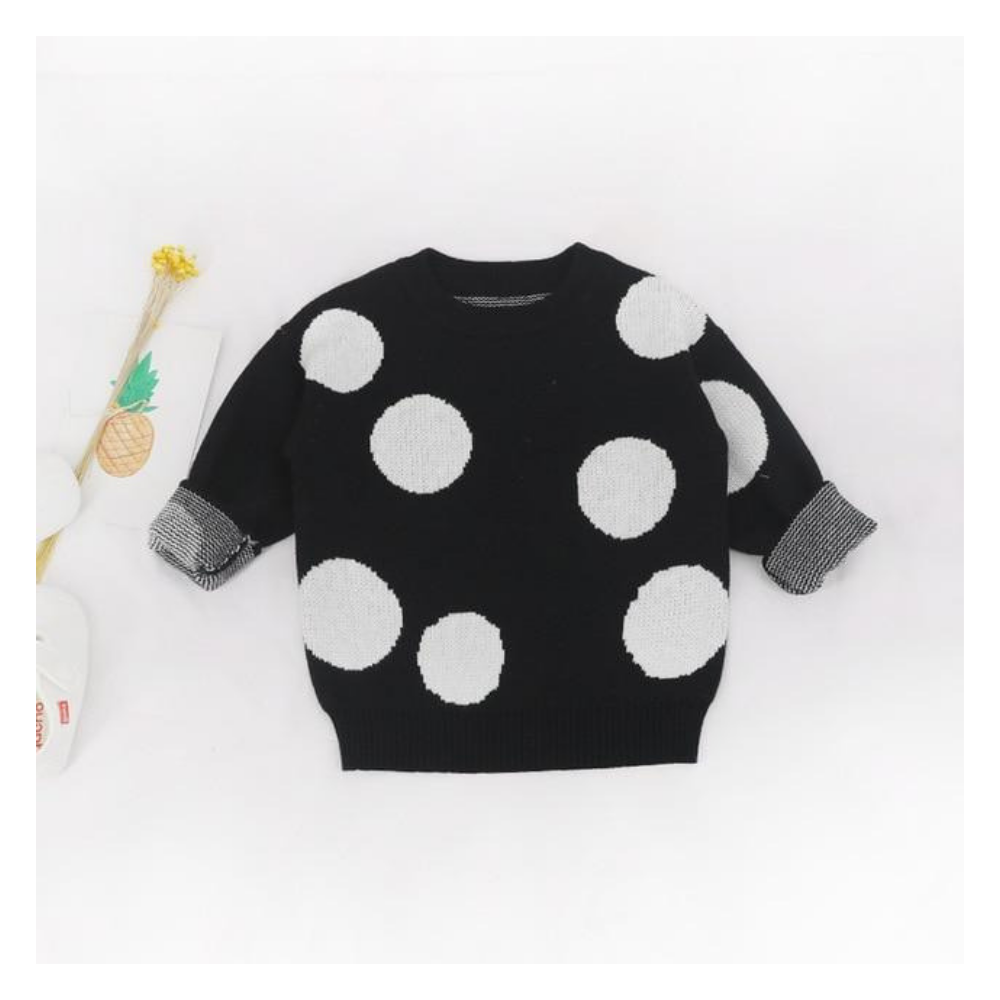Girls' Black Polka Dot Cotton Sweater