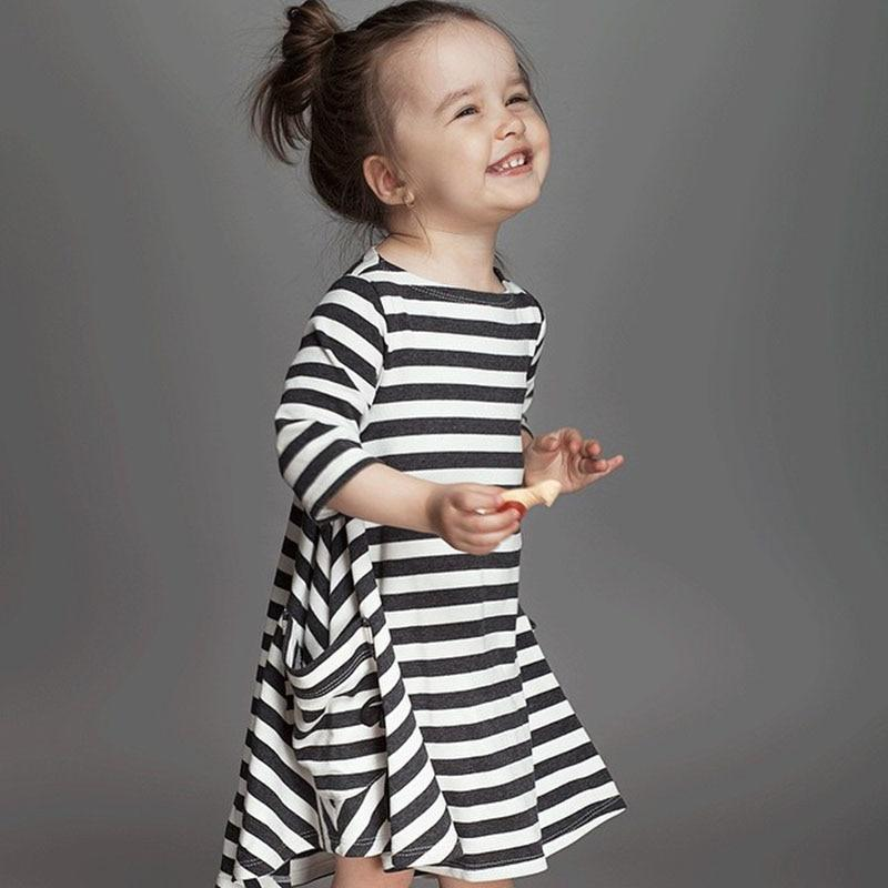 Girls Casual Asymmetrical Black And White Striped Dress