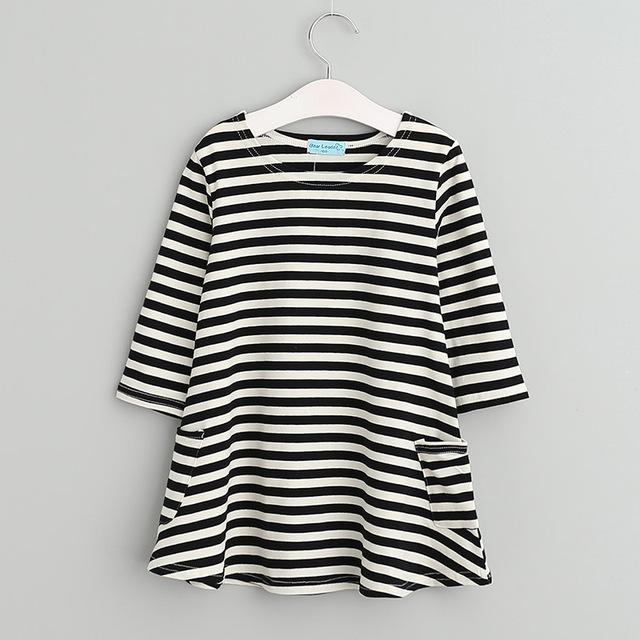 Girls Casual Asymmetrical Black And White Striped Dress with pockets