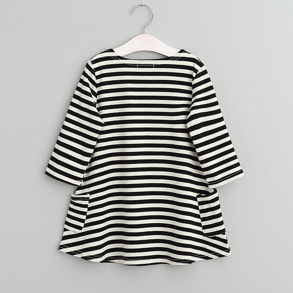 4dd3db830e0f Asymmetrical Black And White Striped Dress For Toddler Girls - The Land Of  Elephants – The Land of Elephants