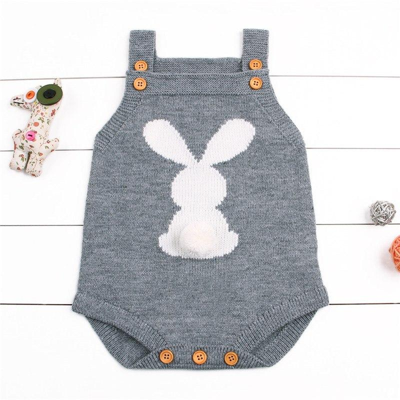 Grey Newborn Baby Girl Knit Bunny Tail Romper