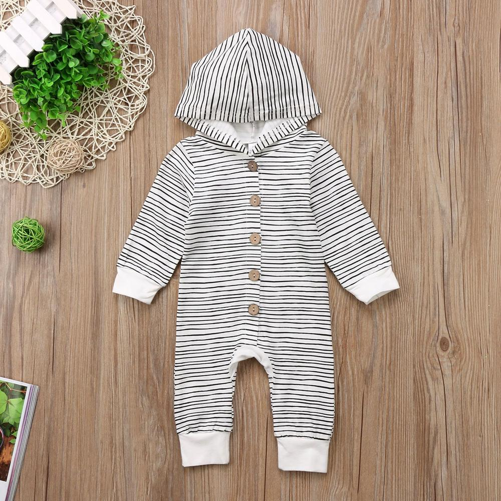 Infant Baby Boys Long Sleeve Striped Jumpsuit