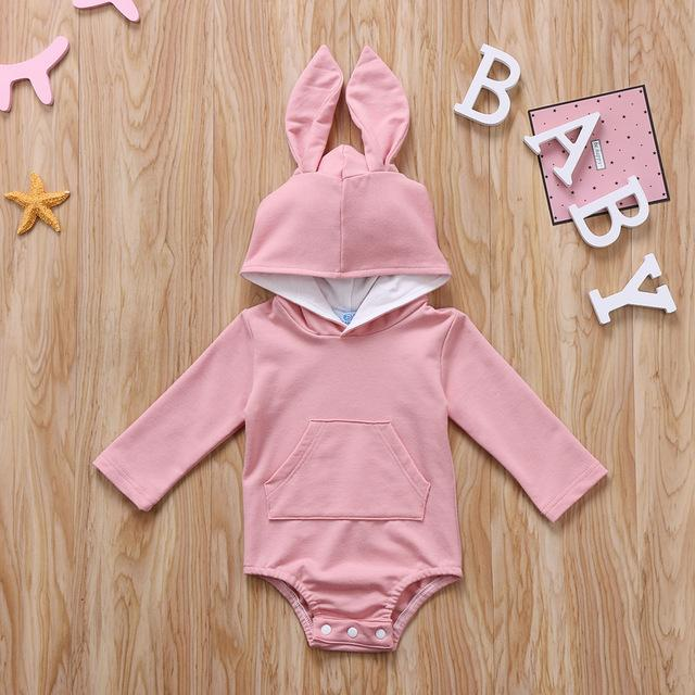 Infant Baby Long-Sleeve Rabbit Ears Hoodie - lavender