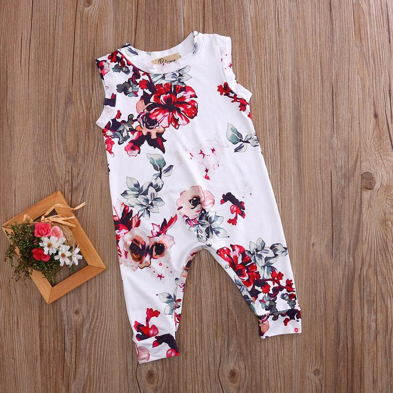 Large Blooms Sleeveless Baby Romper