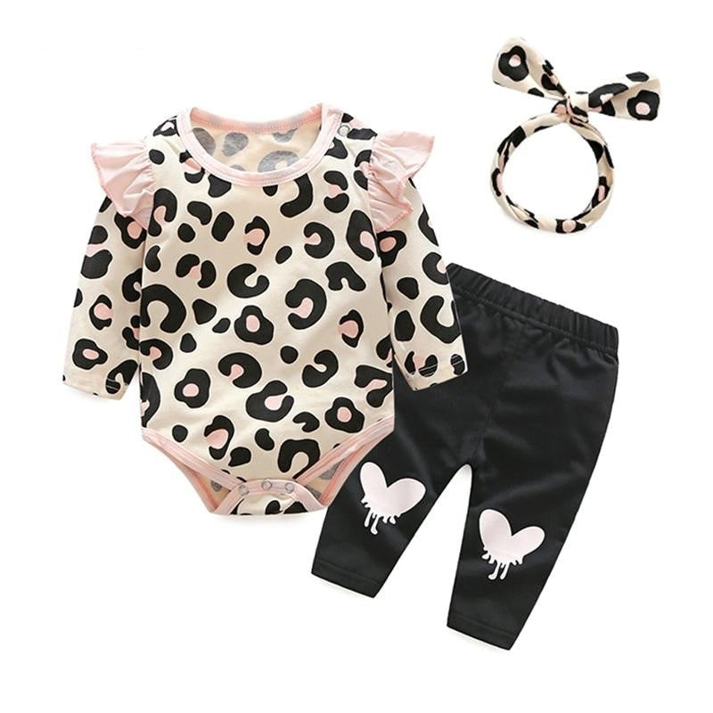 788648c8aae1 Leopard Ruffle 3-Pcs Baby Girl Outfit Set | The Land Of Elephants ...