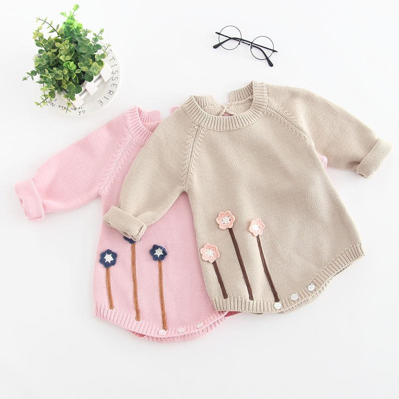 Long Sleeve Knitted Baby Girl Romper - pink and beige