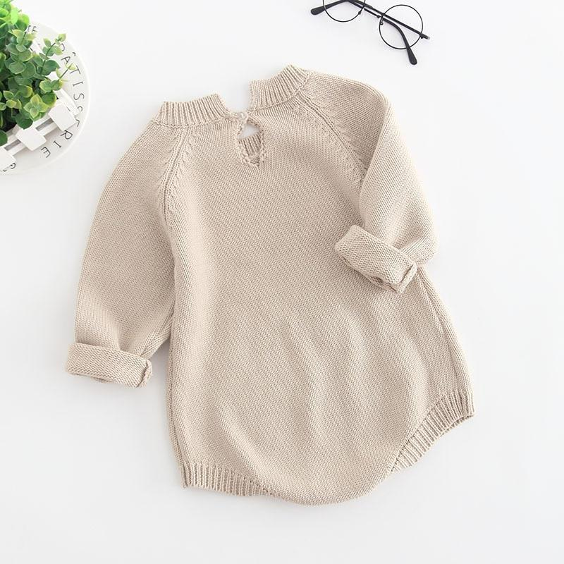 Long Sleeve Knitted Baby Girl Romper - brown