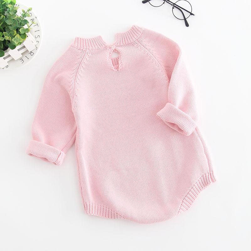 Long Sleeve Knitted Baby Girl Romper - pink