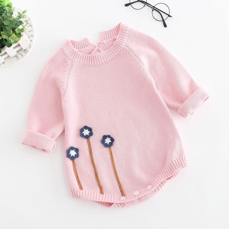 Long Sleeve Knitted Baby Girl Pink Romper