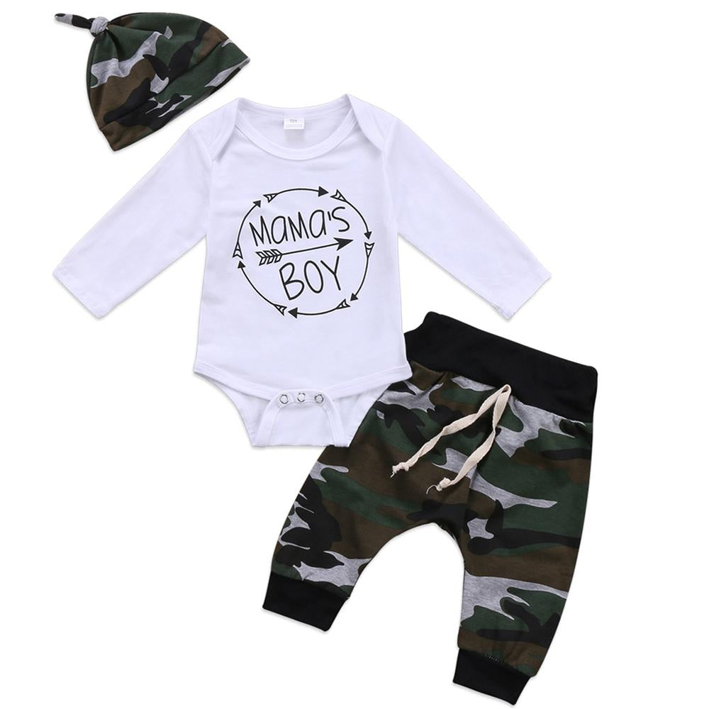 Mmama's Baby Boy 3-Pcs Outfit Set With Hat, Camo Print