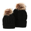 Mommy and Baby Matching Knit Pom Pom Beanies - black