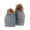 Mommy and Baby Matching Knit Pom Pom Hats - grey