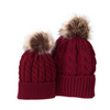 Mommy and Baby Matching Knit Pom Pom Beanie - red