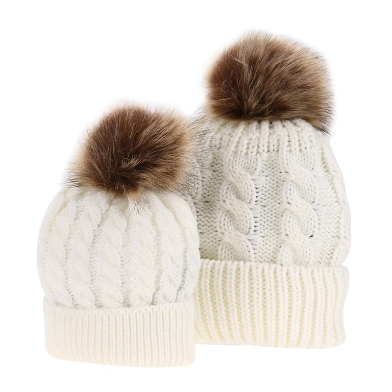 Mommy and Baby Matching Knit Pom Pom Hats - white