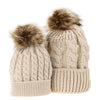 Mommy and Baby Matching Knit Pom Pom Hats - beige