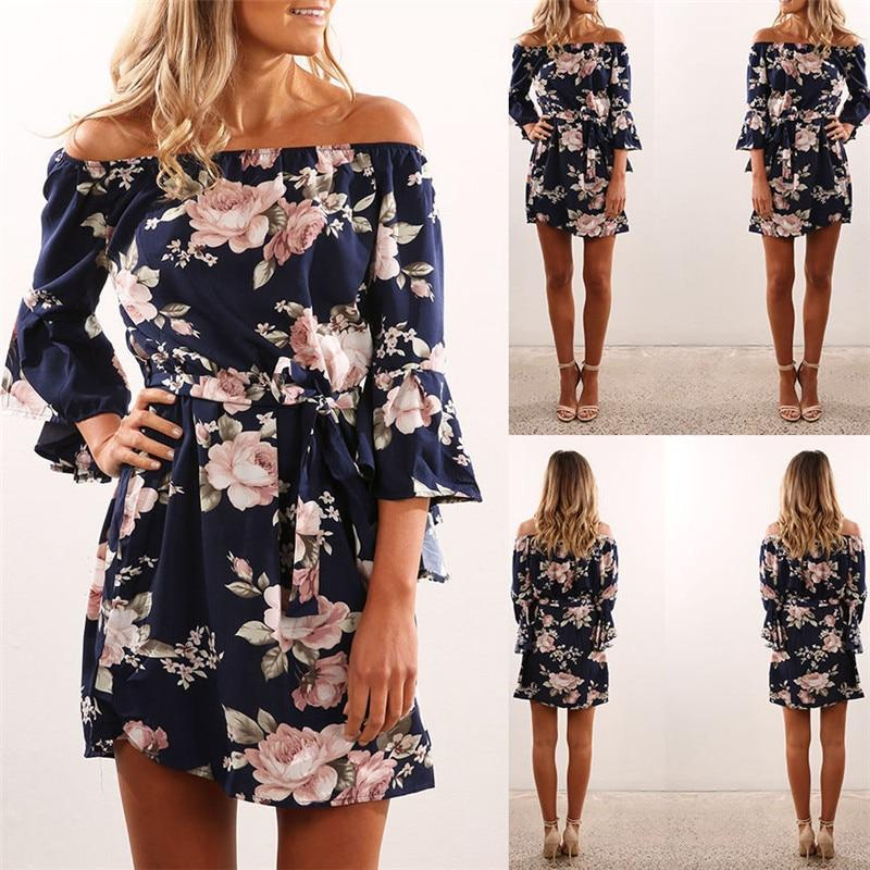 Navy Blue Floral Off Shoulder Summer Dress