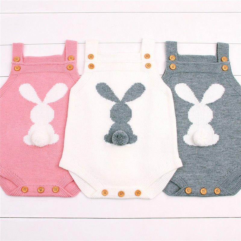 Newborn Baby Girl Knit Bunny Tail Romper - pink, white and grey