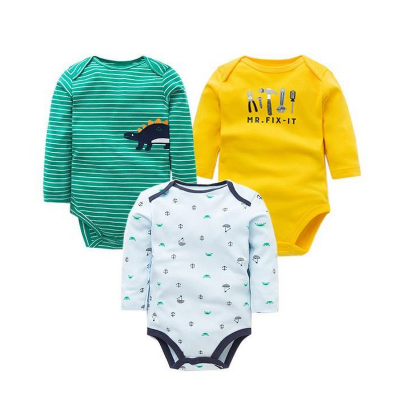 Newborn Baby Long Sleeve Bodysuit, Boys 3 Pack