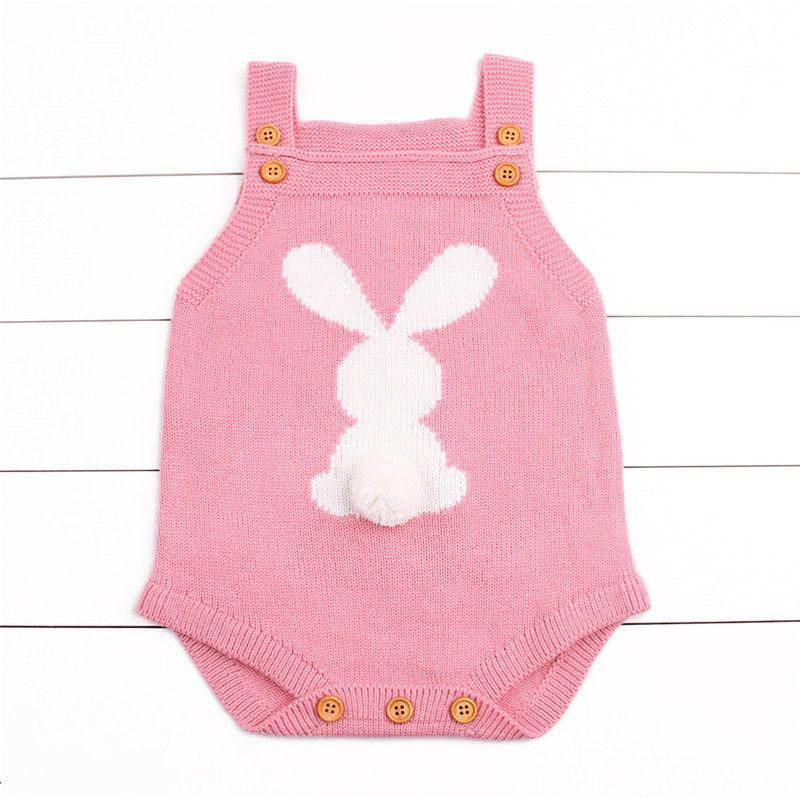 Pink Newborn Baby Girl Knit Bunny Tail Romper