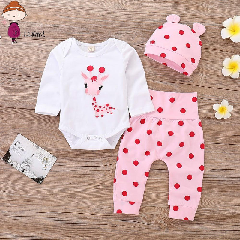 Pink Polka Dot Giraffe Baby Girls' Outfits Set With Bodysuit