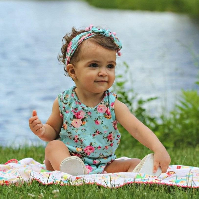 Pink Pompom Floral Romper With Matching Headband