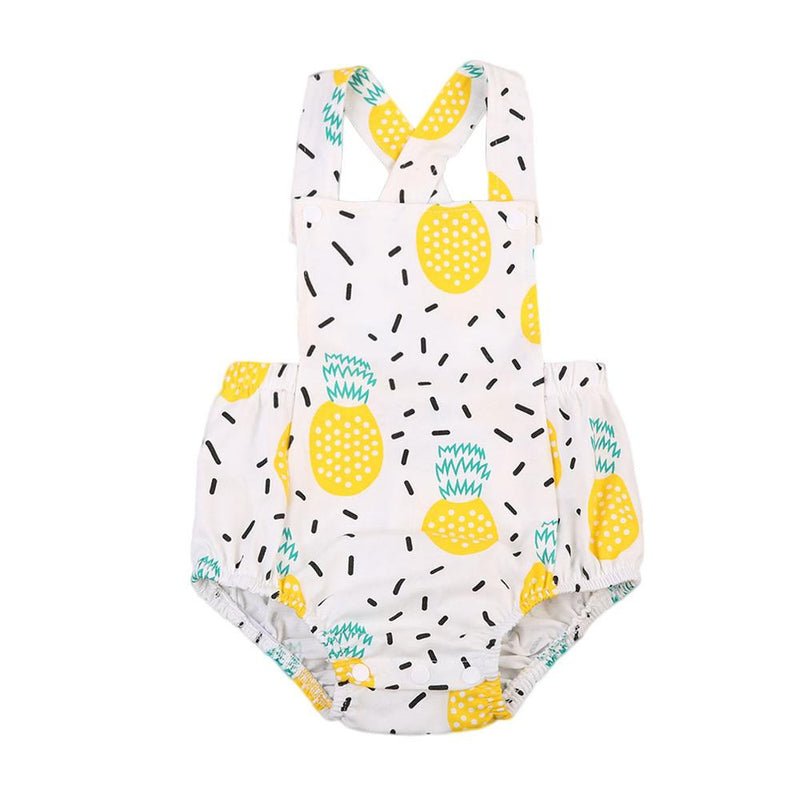 Sleeveless Baby Girl Pineapple Tank Romper