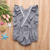 Trendy Backless Ruffle Strap Romper For Baby Girl - grey