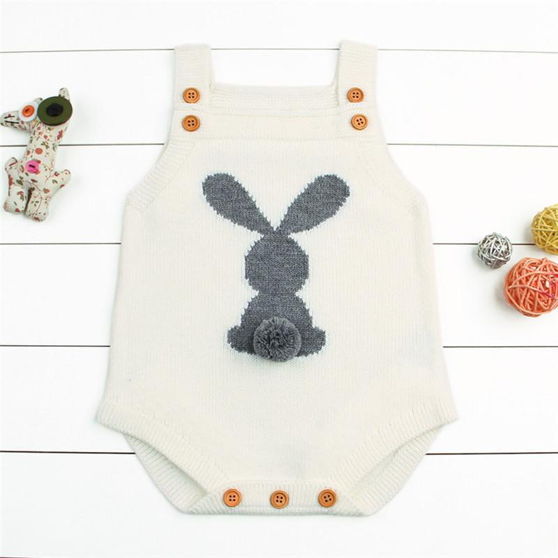White Newborn Baby Girl Knit Bunny Tail Romper