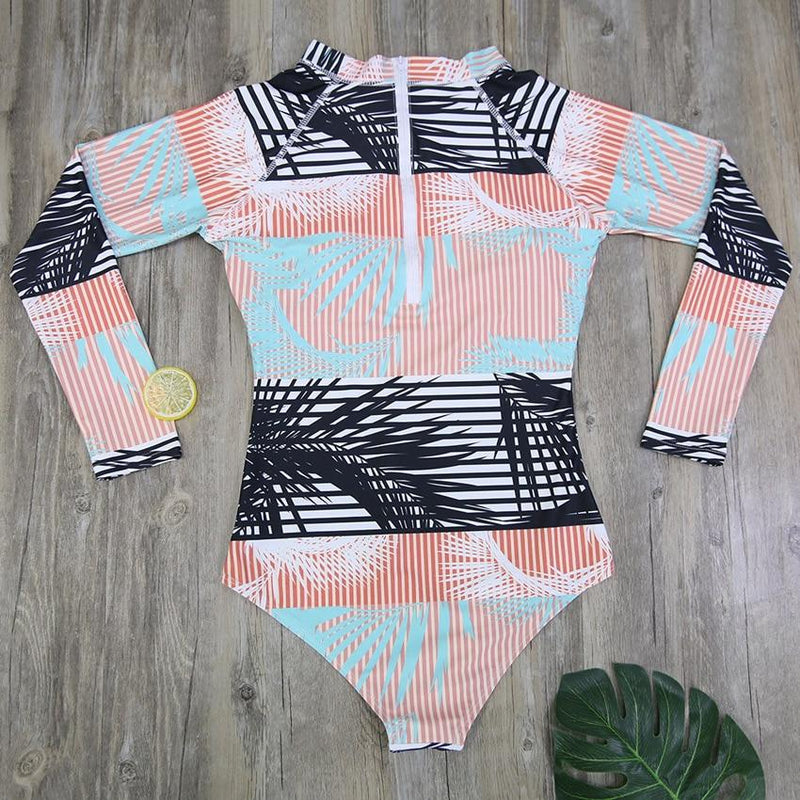 Women's One-Piece Long-Sleeve Paddle Suit, Swimwear