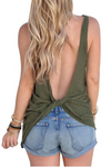 Women's Open Back Knotted Tank - Army Green