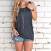 Women's Open Back Knotted Tank - Dark Grey