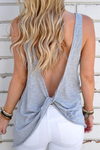 Women's Open Back Knotted Tank - Grey