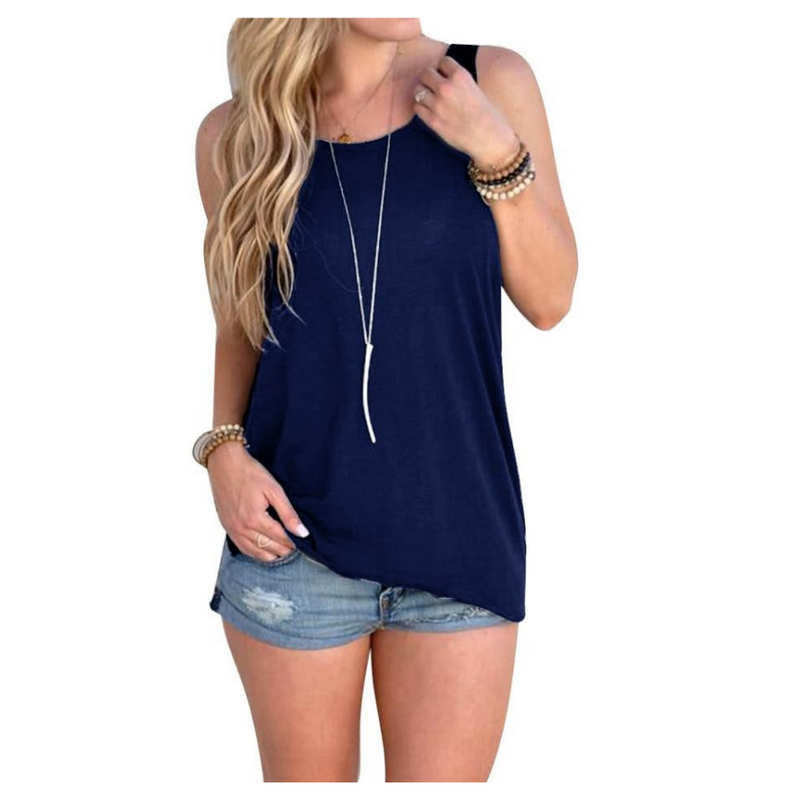 Women's Open Back Knotted Tank - Navy Blue