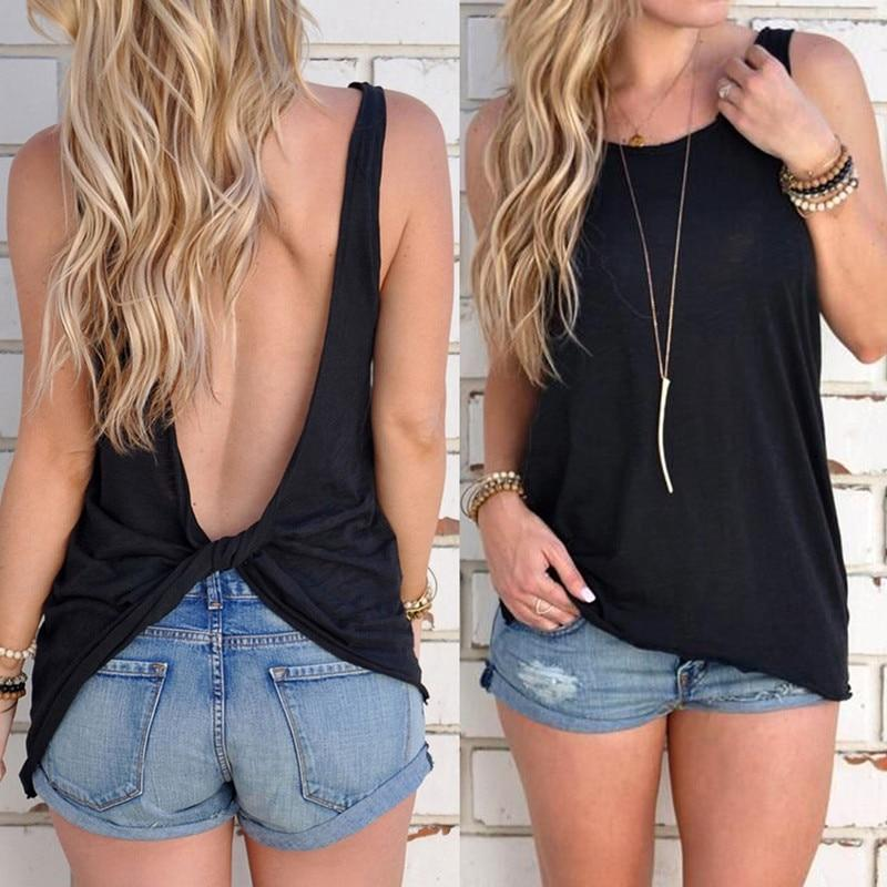 Women's Open Back Knotted Tank - Black