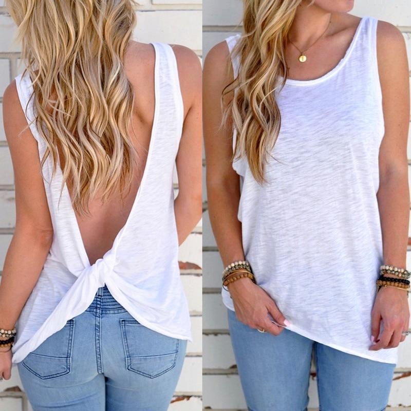 Women's Open Back Knotted Tank - White