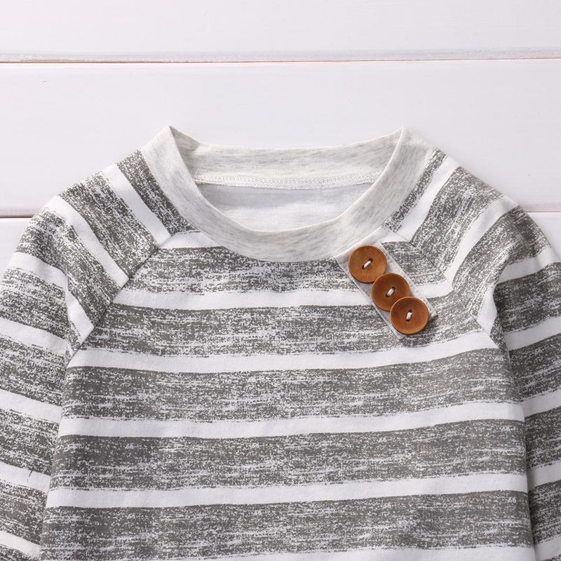 grey and white stripped shirt for baby boy