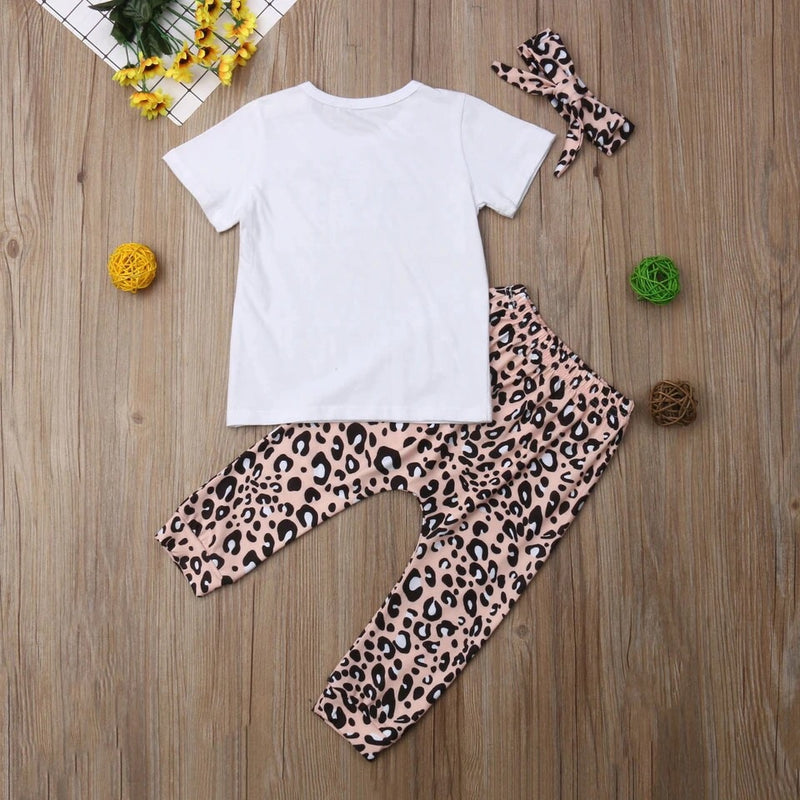 3-Pcs Baby Girl Letter Printed And Leopard Outfit Set