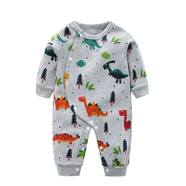 Baby Boy's Cotton Long-Sleeve Cartoon Print Jumpsuit