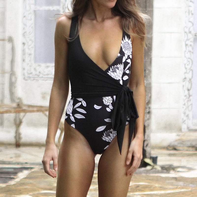 One Piece Cross-Over Kimono Style Swimsuit
